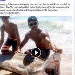 釣り上げたのは90kgのサメ 13歳の少年 アメリカ ニュージャージー州