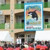 運動会に巨大シャチ 緑が浜小にモザイク壁画 茅ヶ崎版 2015年11月6日